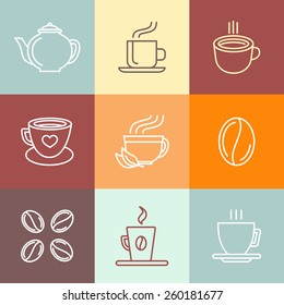 Vector set of coffee logos and icons in outline style - trendy emblems for coffee shops and houses
