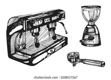 Vector set with coffee machine, coffee grinder, holder. Sketch illustration