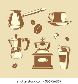 Vector set of coffee making equipment. Cezve, old fashioned manual burr mill coffee grinder, moka pot, turkish manual coffee and pepper grinders, cup coffee