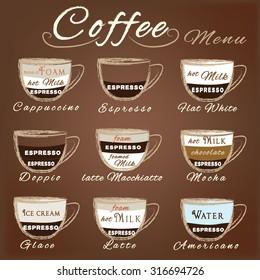 Vector set of coffee menu with a cups of coffee drinks in vintage style. Ingredients coffee: espresso, mocha, macchiato, americano, latte, cappucino, flat white, Glace, dopio