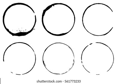 Vector set of coffee ring stains. Grunge style design