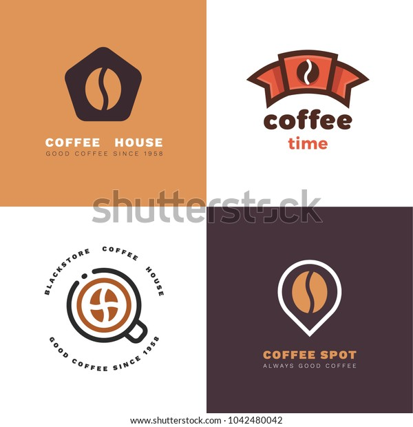 Vector set of coffee shop labels. Negative space logotypes.