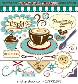 Vector Set: Coffee Shop, Yummy, Hot, and Fresh Collection - Lots of tasty elements for your layout or menu!