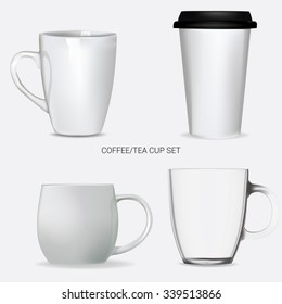 Vector set of coffee and tea cup, mug. Realistic, isolated on white. Ready for design