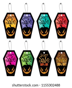 Vector Set Coffin Shape Halloween Sale Tag Template Design