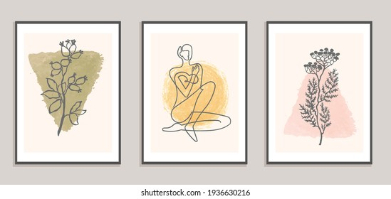 Vector set of collage modern poster with abstract shapes and one line illustrations of women body. For posters, textile print, greeting card template, social media post, banner, invitation, brochure
