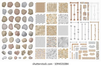 Vector set. Collection of architectural elements. (Top view) Stones, fences, walkways, pavements. (View from above) Collection for landscape design, plan, maps.