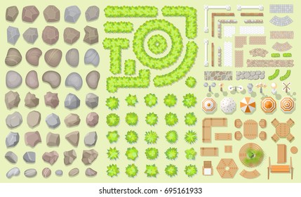Vector set. Collection of architectural elements. (Top view) Stones, bushes, fences, walkways, lights, furniture. (View from above) Collection for landscape design, plan, maps.