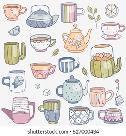 Vector set collection of cute cartoon drawing teapots and cup for tea in different design
