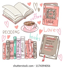vector set collection design cute elegant hand drawn concept with books and coffee