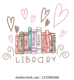 Vector set collection design hand drawn cute concept with books and word library