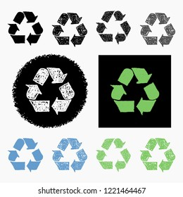 Vector set collection of hand drawn recycling symbols web buttons and icons isolated on white background