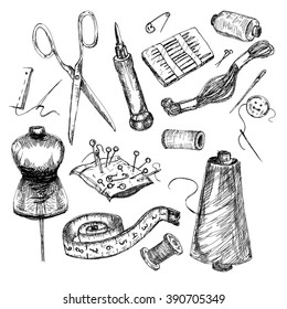 Vector set: collection of highly detailed hand drawn sewing and knitting tools.