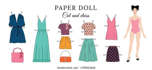 Vector set, vector collection, paper doll, pretty woman, set of female clothes, cut and dress, clothes template, game for girls, education for girls