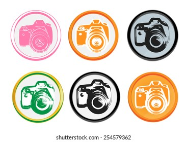 Vector set collection of photo camera buttons. Round design elements