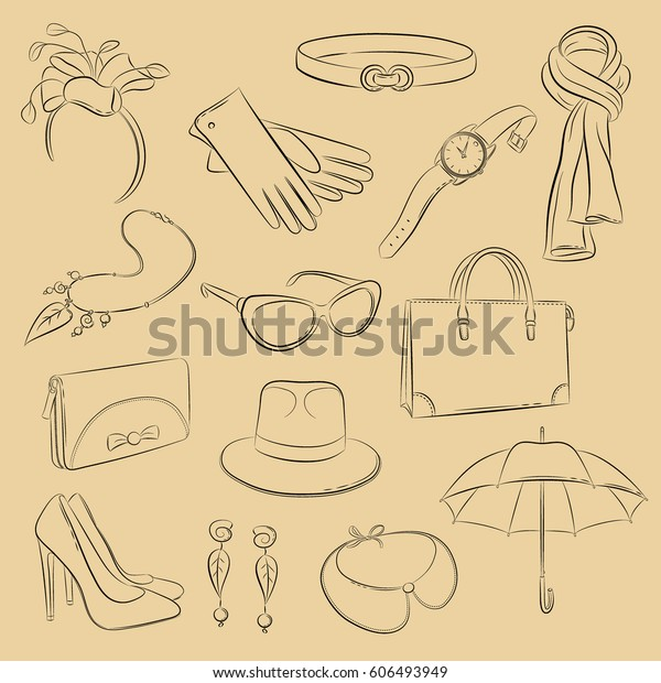 464e8fbc Vector set. Collection of sketch fashionable accessories: scarf, bag,  purse, gloves