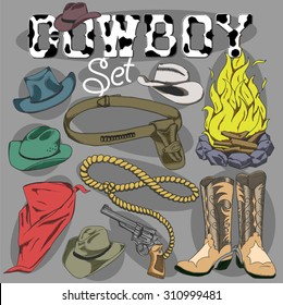 Vector set: A collection of various cowboy items and a hand-lettered cowboy sign