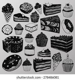 Vector set: A collection of various hand-drawn cakes, sweets, cupcakes and donuts