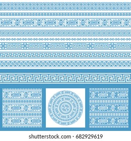 Vector set collections of ethnic Greece design elements. Blue and white ornamental seamless patters and borders in one mega pack.