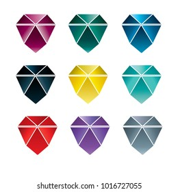 Vector set of coloful stones (diamonds) design elements - cutting samples. Gemstone. Fashion jewelry.