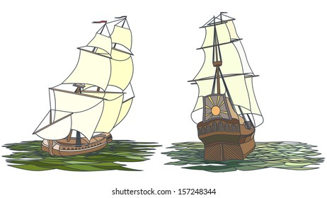 Vector set color artistic illustrations for icons: sailing ships of the 17th century.
