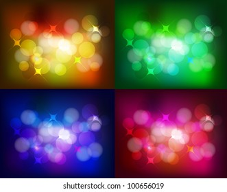 Vector set of color bokeh backgrounds. Orange, green, blue and red