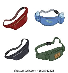 Vector Set of Color Cartoon Belt Bags
