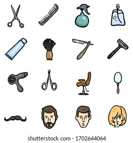 Vector Set of Color Doodle Barber Shop Icons