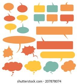 Vector Set of Color Flat Comics  Bubbles. Talk and Think