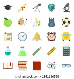 Vector Set of Color Flat Education Symbols. Back to School Icons.