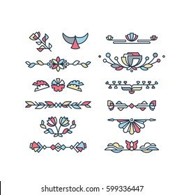 Vector set of color floral decorative elements and text decorations. Flat geometrical design elements.