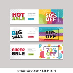 vector set of color full price and sale tags design