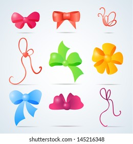 Vector set of color gift bows with ribbons