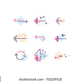Vector set of color line modern arrows and pointers for web design, presentations and infographics.