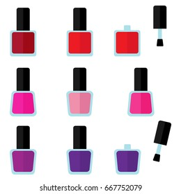 Vector set of color nail polishes, closed and open
