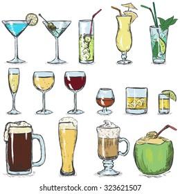 Vector Set of Color Sketch Cocktails