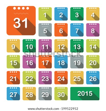 Vector Set Color Square Calendar Icons Stock Vector Royalty Free
