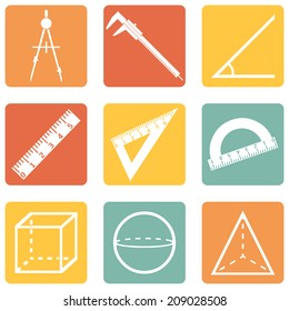 Vector Set of  Color Square Geometry Icons.