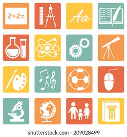 Vector Set of Color Square  School Subjects Icons.