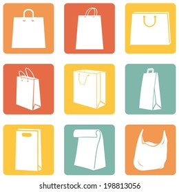 Vector Set of Color Square Shopping Bags Icons