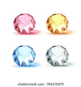 Vector Set of Colored Blue Pink Yellow and White Shiny Clear Diamonds  Isolated on White Background