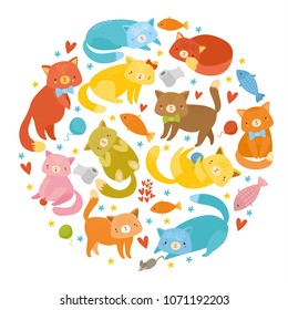 vector set colored cats, cute funny  characters
