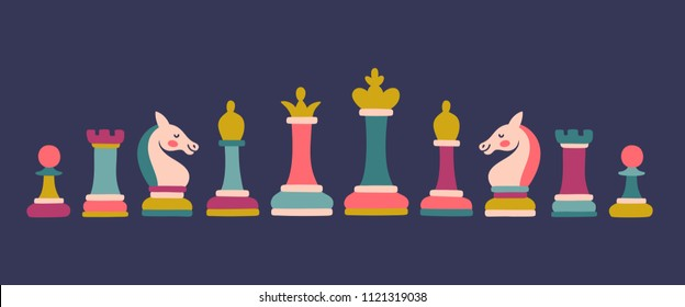 Vector set of colored chess pieces: king, queen, bishop, knight, rook, pawn. Bright set with chess icons.