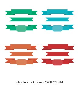 Vector set of colored flat ribbons, set of ribbons on a white background