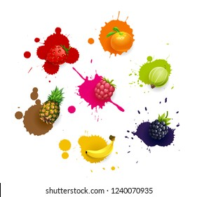 Vector set of colored fresh juicy fruits and blots