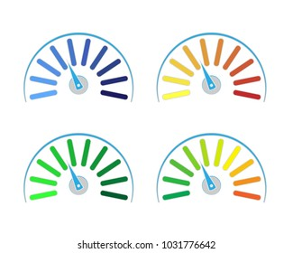 Vector set of colored gauges showing power levels from low to high.The measuring device icon- sign tachometer, speedometer, indicators. Vector illustration in flat style isolated on white background