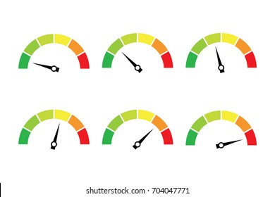 Vector set of colored gauges showing power levels from low to high. Minimum to Maximum. Min to Max.