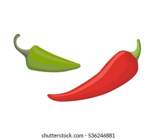 Vector Set of Colored Green and Red Sweet Bulgarian Peppers, Paprika Isolated