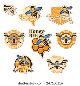 Vector set of colored honey logos, labels, badges and design elements for your design