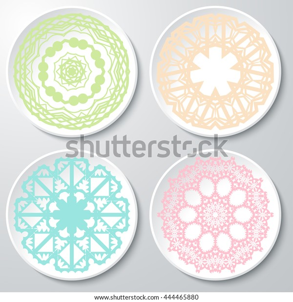 Vector Set Colored Lacy Patterns On Stock Vector (Royalty Free